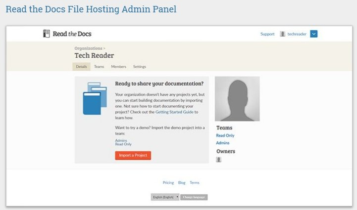 Readthedocs.org Filehost Admin Panel Picture
