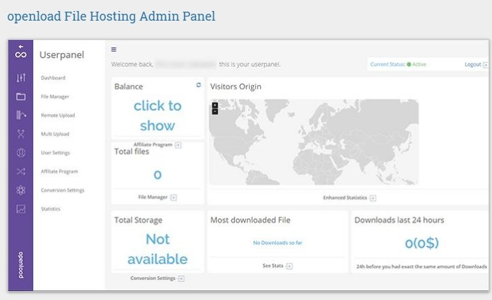 openload Filehost Admin Panel Picture